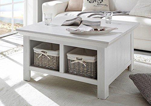 lifestyle4living Couchtisch in Pinie Weiß Dekor mit Klappe und 2 Ablagefächern | Schöner Wohnzimmertisch für gemütliche Wohnzimmer