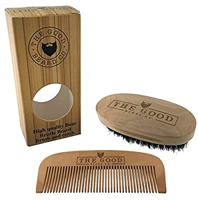 Best Beard Brush and Comb Grooming Kit by The Good Beard Co.   Premium Quality Wood   100% Boar Bristle   Softens and Conditions   Perfect Gift Set   All Beard and Moustache Types   Beard Styling Set