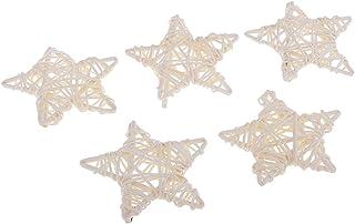 星型 ウィッカーボール ブドウ クラフト 装飾 素朴 結婚式 写真用 吊り飾り 工芸品 4種選ぶ - ホワイト5個入り
