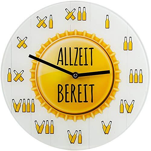 alles-meine.de GmbH Wanduhr _ Bier & Bierflaschen __Spruch: ALLZEIT BEREIT ! _ - 30 cm groß - sehr leise ! - Quartz Uhr aus Glas - Analog - Wohnzimmer - Küche / Kinderzimmer Juge..