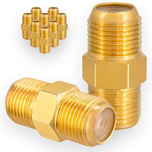 HB-DIGITAL 10x Profi F-Verbinder Buchse aus Kupfer Vergoldet HQ breite Mutter für F-Stecker jeder Größe 4 - 8,2mm für Koaxial Antennenkabel Sat Kabel BK Anlagen