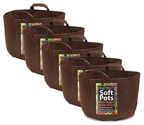 Soft POTS (5 Gallon) (10 Pack) Best Aeration POTS and Grow Bags from Maui Mike's. Made from Recycled Water Bottles and Hemp. Grow Healthier Tomatoes,Herbs and Veggies. ECO Friendly.