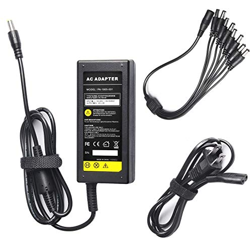 DC 12V 5A Power Supply Adapter with 8 Splitter Power Cable for Security Camera CCTV DVR Surveillance System