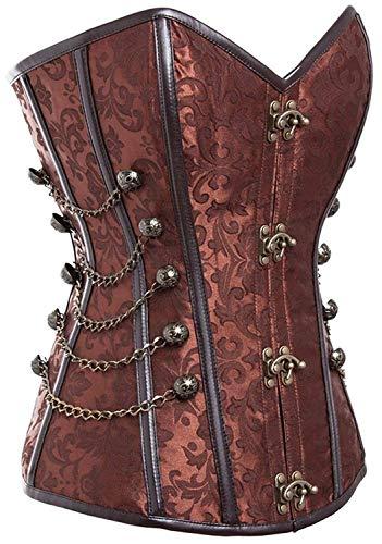 motaierly Women's Steampunk Gothic Waist Training Corset Steel Boned Shapewear Bustier Top