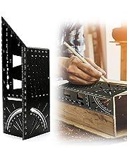 Aceshop 3D Verstekhoekmeetliniaal Multifunctionele 45/90 Graden Vierkante Meter Liniaal Aluminiumlegering T-vormige Zwaluwstaartverbinding Houtbewerkingsmeetinstrument voor Timmerman Bouwers Klusjesmannen Ambachtslieden