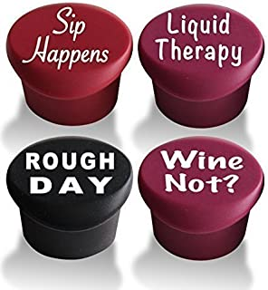 Reusable Vacuum Wine Stopper 4 Pack - Silicone Wine Bottle Stopper & Wine Preserver 4 Pack - Funny Wine Stoppers Favors by Vino Please - Perfect Personalized Wine Gifts for Wine Lovers