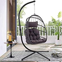 YeSea Egg Chair Aluminum Frame Swing Chair in Door Outdoor Hanging Egg Chair Patio Wicker Hanging Chair Hammock Chair with Stand and UV Resistant Cushion 350-pound Weight Capacity (Dark Grey