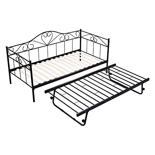 Panana Single Day Bed Metal Guest Bed Frame Sofa Bed with Pull Out Guest Trundle Bed (Black, Daybed+Trundle)