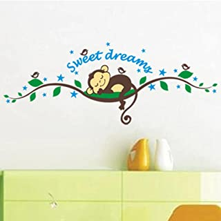 Sweet Dream Cartoon Monkey Sleeps Wall Sticker for Kids Baby Room Home Decor Bedroom Decals Mural Decorations Animal Stickers