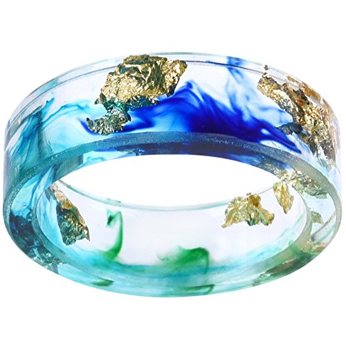 8mm Ocean Style Transparent Plastic Resin Wedding Band Cocktail Party Ring (Blue & Green, 10)