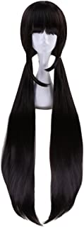 Anime Cosplay Wig 100cm Long Straight Black Brown with Double Ponytails Women Girls' Party Wigs