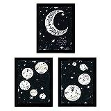 Nacnic Set de 3 láminas de Nueve Planetas y Luna,en tamaño A3, Poster Papel 250 gr Marco