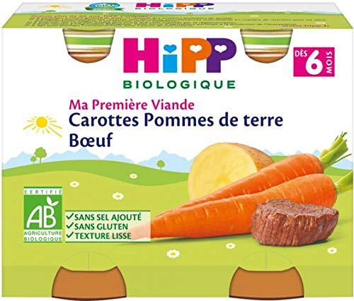 HiPP Biologique Carottes Pommes de Terre Bœuf pots 2 x 190 g dès 6 mois