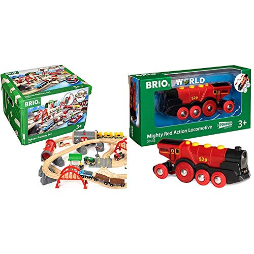 Brio World Deluxe Railway Set | Wooden Toy Train Set for Kids Age 3 and Up, Green & World Mighty Red Action Locomotive | Battery Operated Toy Train with Light and Sound Effects for Kids Age 3 and Up