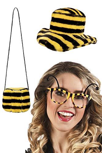 Marco Porta Juego de accesorios para disfraz de abeja, 3 piezas, incluye funda de abeja, sombrero de abeja, gafas de abeja.