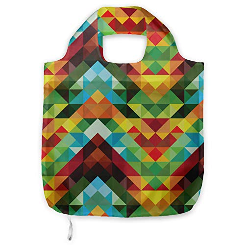ABAKUHAUS Vistoso Bolsa Reutilizable Plegable para Compras, Patrón óptica abstracta, de Tela con Estampa Digital Colores Durables Lavable, Multicolor