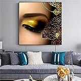 N / A Pintura sin Marco Pintura al óleo Maquillaje Modelo Femenino impresión de póster Pintura al óleo Fresca Sala de Estar Dormitorio decoración Pintura ZGQ6140 70X70cm
