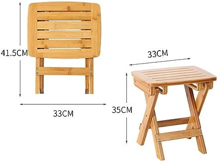 LJL Fashion Creative Small Furniture Anti-Slip Stool Leisure Folding Home Dining Stool Thick Bam