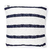Vezavena   Cojín Estilo Crochet de Rayas en Color Azul Navy y Crudo  Elaborado con Algodón Ecológico Reciclado   Textil de Hogar para Decoración de Salones o Habitaciones - 45x45 cm