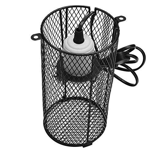 Reptilien Wärmelampe Schutzkorb E27 Reptilien Wärmelampe Lampenschutzgitter Terrarien Lampenschutzkorb mit Keramikfassung mit Schalter für E27 Reptilien Heizlampe (EU Plug)