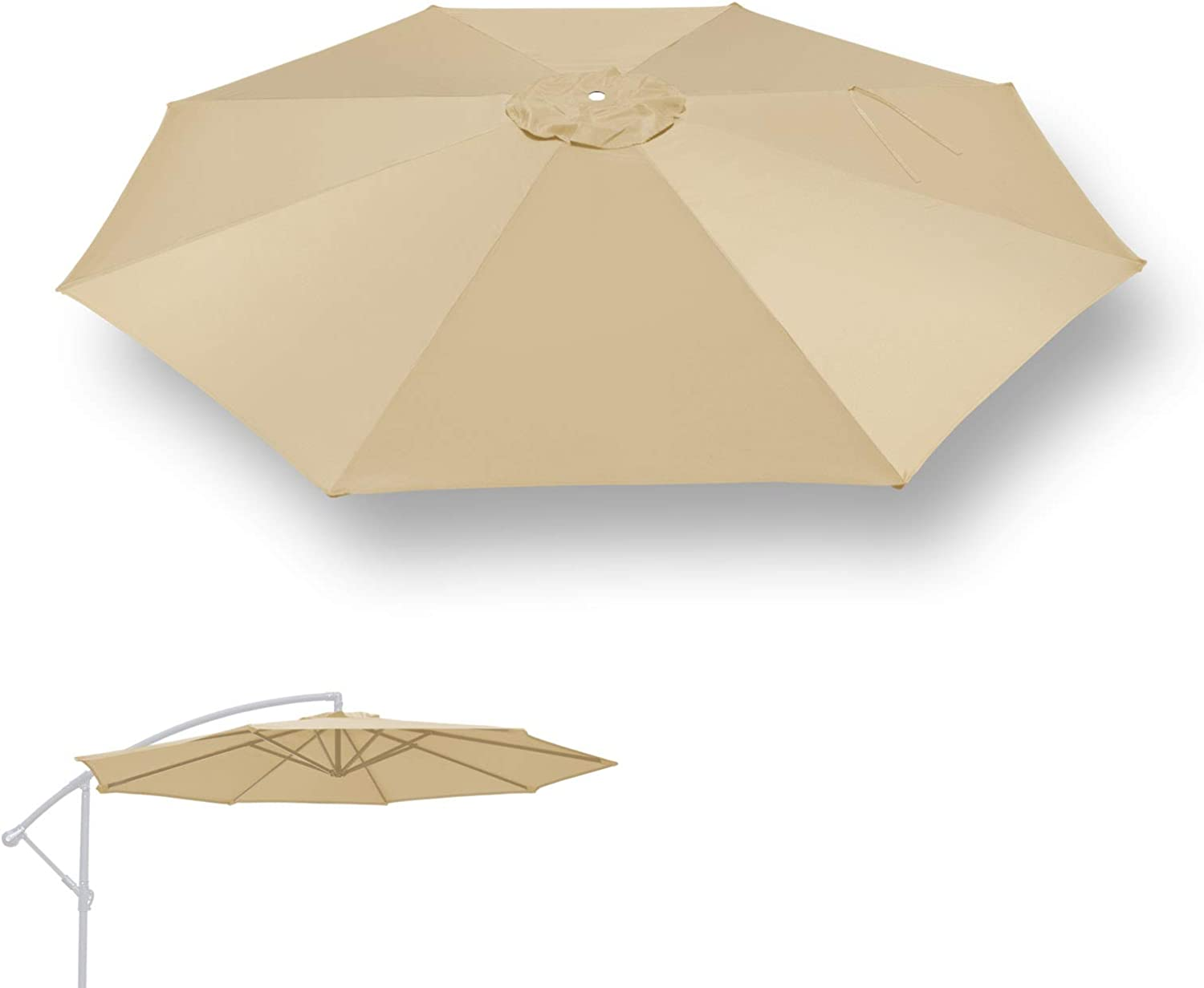 Amazon Com Benefitusa Replacement Umbrella Canopy For 10ft 8 Ribs Cantilever Hanging Umbrella Canopy Only Beige Garden Outdoor