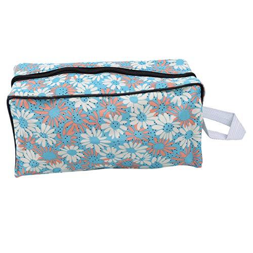 EJY Portable Femmes Floral Maquillage Sac Voyage Zipper Cosmetic Wash Organizer Sac(bleu)