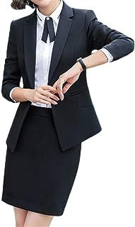 [LINGLU] レディース ツーピース パンツスーツ スカートスーツ 2点セット ビジネス テーラード スーツ 通勤 ビジネス 就活 面接