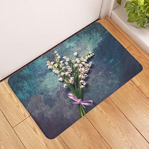 Deurmat, 3D-eenvoudige witte bloempot, antislip, deurmat, welkom, slaapkamer, hal, rechthoekig, zachte deurmat voor huis, woonkamer, keuken 50×80cm