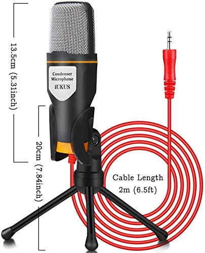 Professional Condenser Microphone Aux 3.5mm Jack with Stand and Clip with 2m Cable for Pc Laptop Computer Desktop mic Ideal for Voice Recording and Singing Video Conference Youtubers