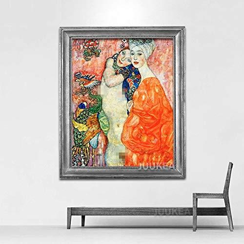 Zkkpainting Muurschildering Olieverfschilderij Gustav Klimt Oranje En Zusters Klassieke Kunst Schilderij Print Op Doek, Wandfoto's Voor Woonkamer, Huisdecoratie Muurdecoratie