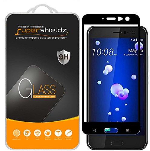 Supershieldz (2 Pack) for HTC U11 Tempered Glass Screen Protector, (Full Screen Coverage) Anti Scratch, Bubble Free (Black)