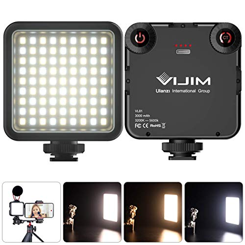 Luce LED Fotografia Dimmerabile Mini LED Luce Video Ultra Videocamera a Pannello,Video Light per Smartphone Telecamera Pocket Vlog Light 3000mAh Batteria