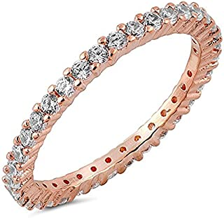 espere 14K Rose Gold Plated CZ Simulated Diamond Stackable Ring Eternity Bands for Women Size 4-9