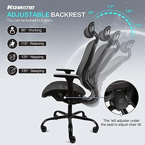 Komene Ergonomic Office Chair Mesh Computer Desk Chair Adjustable High Back Chair with 3D Armrests Lumbar Support - Swivel Drafting Chair (Black)