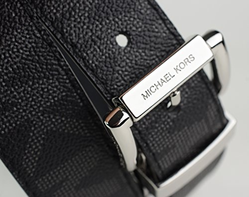 Michael Kors Womens MK Logo Reversible Belt Black MK or Solid Black Size Medium