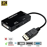 CableDeconn DisplayPort 1.2 to HDMI 4K DVI VGA 3 in 1 Multi-Function Cable Adapter Converter