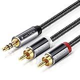 Cable Audio RCA,Victeck Nylon Trenzado 3,5mm Jack Macho a 2 RCA Macho Conectores Estéreo Cable (5m)