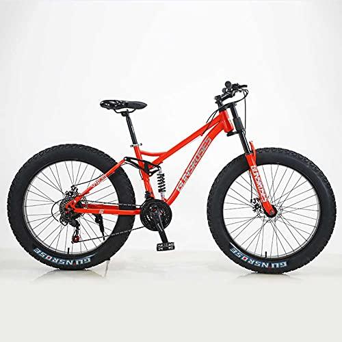 CYFCXK 24 Pulgadas / 26 Pulgadas Moto de Nieve 4.0 Neumático Grueso Bicicleta de montaña de Velocidad Variable Todoterreno