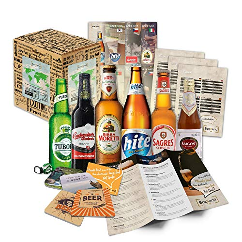 BOXILAND - Bier-Geschenk-Set mit verschiedenen Bier-Sorten (6x0,33l) zum Vatertag - als Geschenkidee für Männer, Väter, Papas