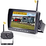 LeeKooLuu F06 HD 1080P Digital Wireless Rear View Camera with 7'' Monitor High-Speed Observation System IP69 Waterproof Night Vision Backup Camera for RVs,Trailers,Bus,Motorhome,5th Wheels,Campers