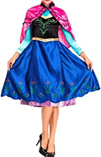 Anime Cosplay Costume Princess Anna Fancy Dress with Shawl