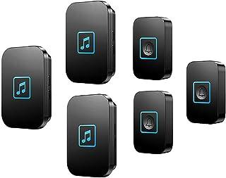 Wireless Doorbell, Waterproof Door Bell Chime Kit with special function,300m Range,60 Ringtones,5 Volume Levels(0-115 dB),...