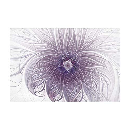 APJDFNKL Purple Lavender Wisps White Fractal Comedor Manteles Rectangulares 60x90 Pulgadas para el hogar Mesa Rectangular Cubierta de Mesa de cumpleaños Cubierta de Mesa Extensible Ajustada Mant