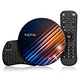 Android 9.0 4GB DDR3 + 128GB EMCC, TICTID Android TV Box R8 MAX con Wireless Mini Tastiera, RK3318 Quad-Core 64-Bit, Dual WiFi 2.4G / 5GHz, 100M LAN, USB 3.0, BT 4.0, 4K Android TV