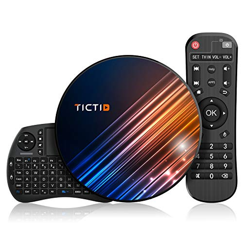 Android 9.0 TV Box 【4G+128G】con Mini Teclado inalámbirco RK3318 Quad-Core 64bit Android TV Box, Wi-Fi-Dual 5G/2.4G, BT 4.0, 4K*2K UHD H.265, USB 3.0 Smart TV Box