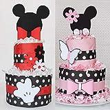 Tartas de pañales tipo disney Mickey y Minnie 18 pañales