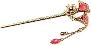 Voberry Ancient Chinese Women's Lucky Totem Rhinestone Crystal Bead Antique Brass Hair Pin. (E)