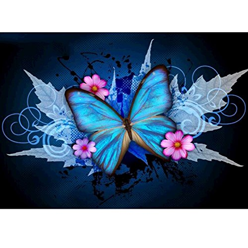 MXJSUA 5D Diamond Painting Kit Full Drill DIY Rhinestone Arts Craft for Home Wall Decor Maple Leave Butterfly 12x16 inch