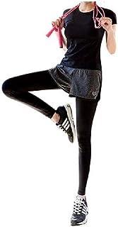 (ファースト) FAST ヨガウェア ショートパンツ 付き ロングタイツ レギンス 吸汗速乾 ダンス 体操 ランニング フィットネス ジム トレーニング ウェア スパッツ 一体型 プレミアム パンツ