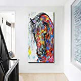 Large Canvas Prints Wall Art Abstract Horse Art Pop Art Funny Colorful Horse Animal Print Posters on Canvas Painting Home Decor Picture 24'x48'